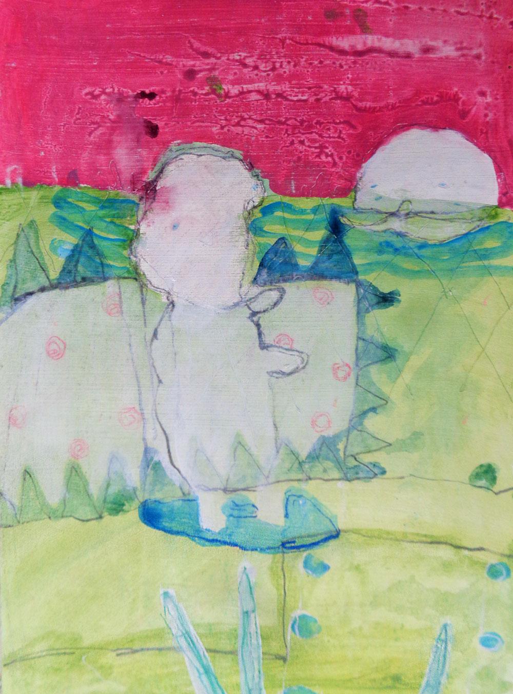Farbige Arbeit auf Papier von Erik Buchholz – 2